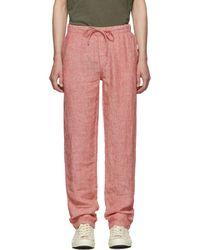 Onia Pantalon en lin rouge Carter