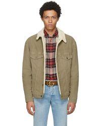 Gucci - Tan Corduroy Sherpa Wolf Jacket - Lyst
