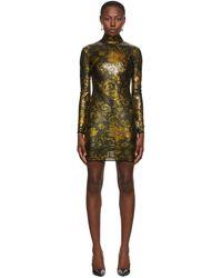 Versace Jeans Couture ブラック & ゴールド Glitter ショート ドレス - マルチカラー