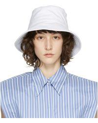 Isabel Marant ホワイト Loiena バケット ハット - ブルー