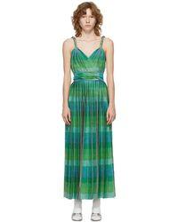 Gucci グリーン & ブルー プリーツ ロング ドレス