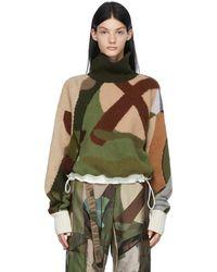 Sacai Col roulé vert à motif camouflage édition KAWS