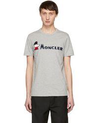 Moncler - T-shirt a logo gris Maglia - Lyst