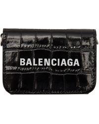 Balenciaga - ブラック クロコ ミニ Cash ウォレット バッグ - Lyst