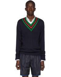 Gucci ネイビー ウール ウェブ V ネック セーター - ブルー