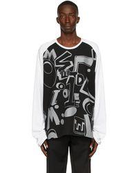 we11done & White Spread Logo Long Sleeve T-shirt - Black