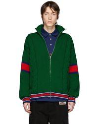 Gucci グリーン ウール ジップアップ セーター