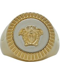 Versace - Gold And Silver Guilloche Medusa Ring - Lyst