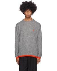 Loewe Gray & Red Wool Anagram Sweater