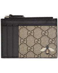 Gucci - Beige GG Bee Zip Card Holder - Lyst