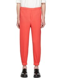 Homme Plissé Issey Miyake - Red Tapered Pleat Trousers - Lyst