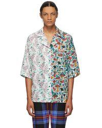 CHARLES JEFFREY LOVERBOY Multicolour Alf N Alf Hawaiian Short Sleeve Shirt - Blue