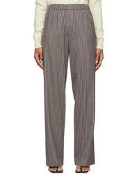 6397 Gray Pinstripe Pull-on Long Pants