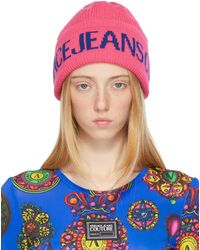 Versace Jeans Couture ピンク ロゴ ビーニー - ブルー