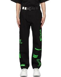 we11done Black Neon Logo Jeans