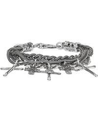 Emanuele Bicocchi - Silver Braided Cross Bracelet - Lyst