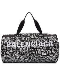 Balenciaga ブラック And ホワイト ロゴ ウェーブ ジム バッグ
