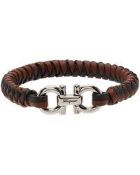 Ferragamo Double Gancini Woven Leather Bracelet - Brown