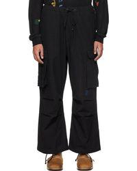 STORY mfg. Pantalon cargo forager noir en coton bio