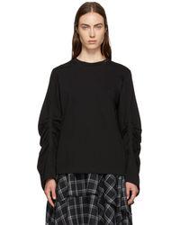 3.1 Phillip Lim - Black Gathered Long Sleeve T-shirt - Lyst
