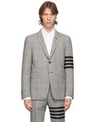 Thom Browne Blazer en laine noir et blanc 4-Bar - Gris