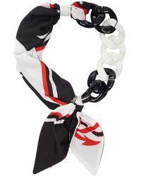 MSGM ホワイト And ブラック チェーン スカーフ ネックレス