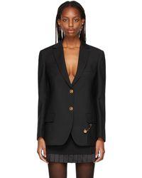 Versace ブラック オーバーサイズ ブレザー