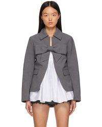 ShuShu/Tong Ssense Exclusive Gray Bow Suit Jacket