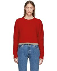 The Elder Statesman - Red Cashmere Simple Line Cropped Sweater - Lyst