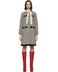 Gucci - ブラック And オフホワイト ウール ハウンズトゥース コート - Lyst