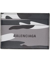 Balenciaga Porte-cartes à motif camouflage gris et noir Cash