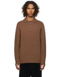 Beams Plus ニット ポロシャツ - ブラウン