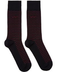 BOSS - Two-pack Navy And Red Stripe Socks - Lyst