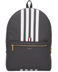 Thom Browne Grey Structured 4-bar Stripe Backpack - Gray