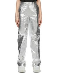 we11done - Metallic Straight Trousers - Lyst