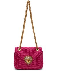Dolce & Gabbana Sac en raphia rose Medium Devotion - Multicolore