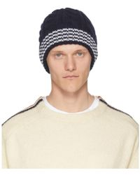 b147ed065e9 Thom Browne Aran Cable Striped Beanie Hat In Gray For Men Lyst