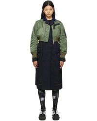 Sacai ネイビー & カーキ Bomber Suit コート - ブルー