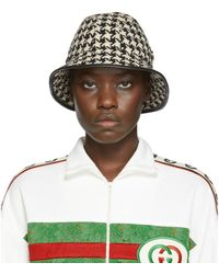 Gucci Black And White Houndstooth Fedora - Multicolor