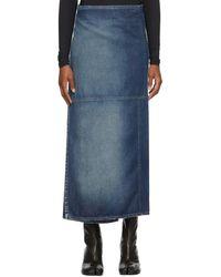 MM6 by Maison Martin Margiela ブルー デニム ラップ スカート