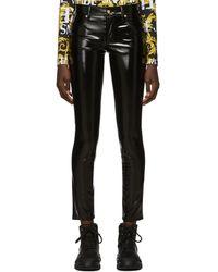 Versace Jeans Couture ブラック シャイニー ビニール トラウザーズ