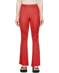 Calle Del Mar Red Ribbed Lounge Trousers