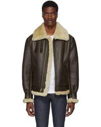 Schott Nyc Brown B-3 Shearling Jacket