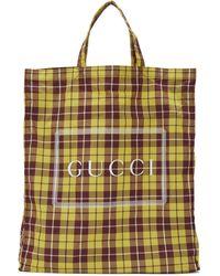 Gucci Cabas a carreaux jaune et bourgogne Medium