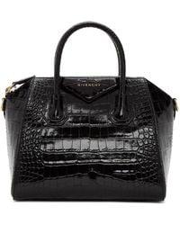 Givenchy ブラック クロコ スモール Antigona バッグ