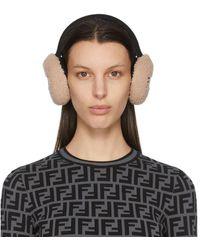 Fendi Pink Shearling Ear Muffs - Multicolour