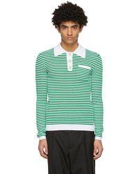 CASABLANCA - ホワイト And グリーン Grandpa Tennis ポロシャツ - Lyst