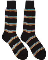 Paul Smith - Black Multistripe Block Socks - Lyst