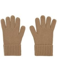 Burberry Beige Cashmere Logo And Kingdom Gloves - Natural