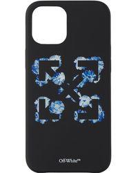 Off-White c/o Virgil Abloh ブラック & ブルー フローラル Arrows Iphone 12 Pro Max ケース